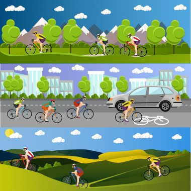 Group of bicycle riders on bikes in mountains, city road and park. Biking sport banners. Vector illustration flat style