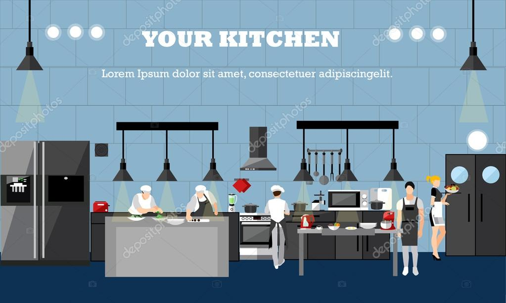 Vector Banner With Restaurant Interiors Chefs Cooking Food In