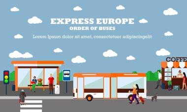 Mode of Transport concept vector illustration. Bus stop banner. City transportation objects.