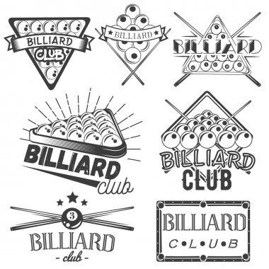 Vector set of billiard labels in vintage style. Sport concept. Billiard cue and balls.