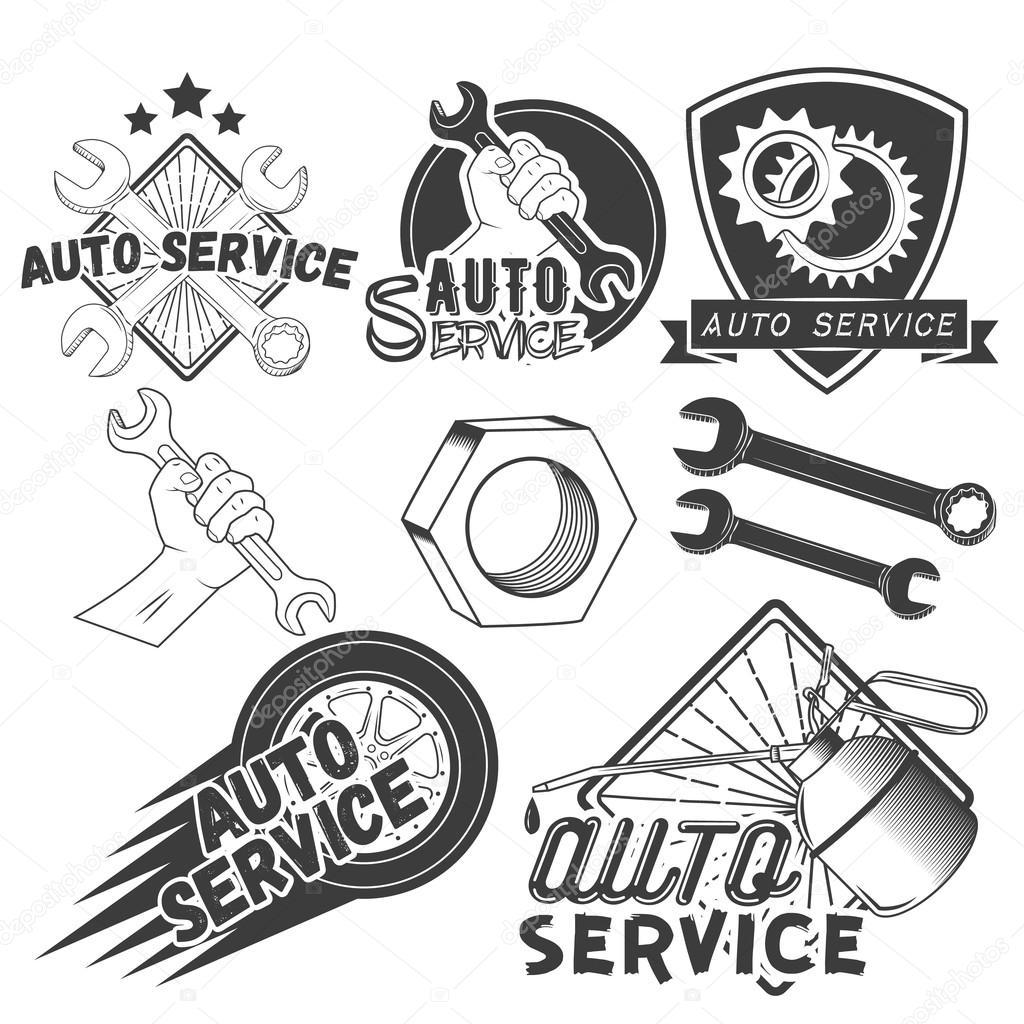 Vector set of auto service labels in vintage style. Car repair shop ...