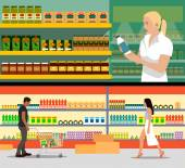 Fényképek Food store interior vector illustration flat style. Customers buy products in supermarket. Groceries and foodstuff on shelves.
