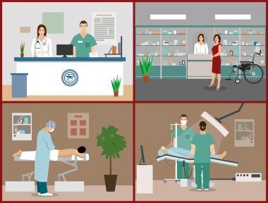 Vector banners set with patients, doctors and hospital interiors. Health care medicine concept. Flat cartoon illustration.
