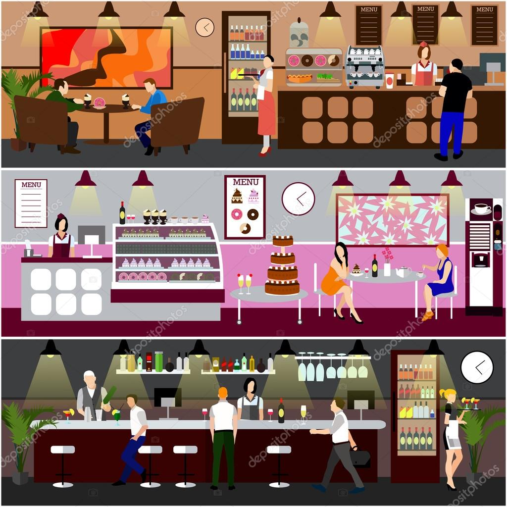Bakery Interior Designs Cafe Interior Vector Illustration Design Of Coffee Shop Bakery Restaurant And Bar People In Cafe Cartoon Flat Style Stock Vector C Skypistudio 101209366