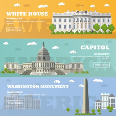 Washington DC tourist landmark banners. Vector illustration. Capitol, White House.