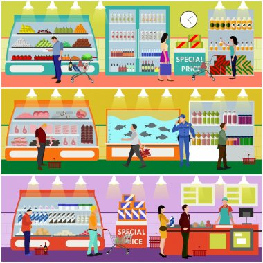 Supermarket interior vector illustration flat style. Customers buy products in food store. People shopping.