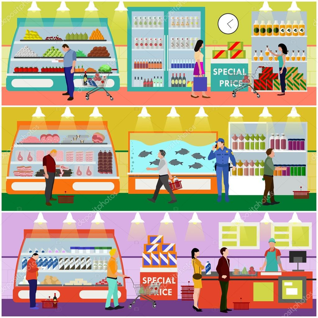 Supermarket interior vector illustration flat style. Customers buy ...