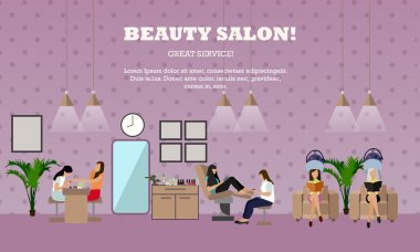 Beauty salon interior vector concept banners. Women in manicure and make up design studio