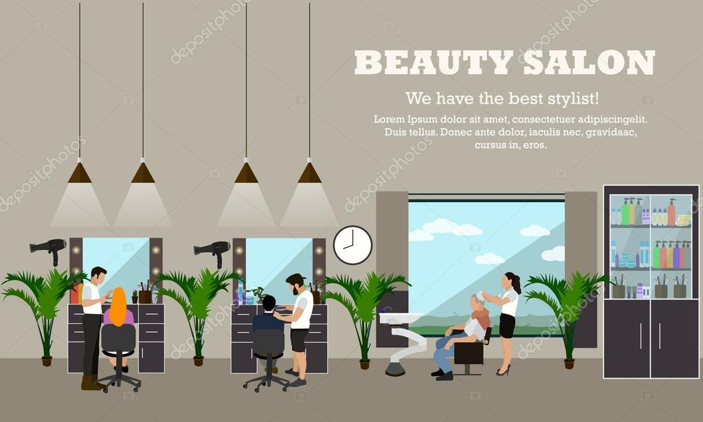 Beauty Salon Interior Vector Concept Banners Hair Style Design Studio Women In Haircut Atelier Stock Vector C Skypistudio 102172480