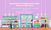 Fényképek Szupermarket belső vektoros illusztráció lapos stílusú. A(z) termékek élelmiszer boltban vásárolni. Élelmiszert és élelmiszer a polcokon