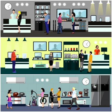 People shopping in a mall concept. Consumer electronics store Interior. Colorful vector illustration