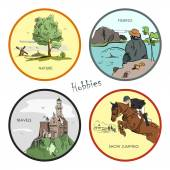 Vector set of hobbies, travel, sport, fishing, nature. Hand drawn stickers, labels, emblems and illustrations