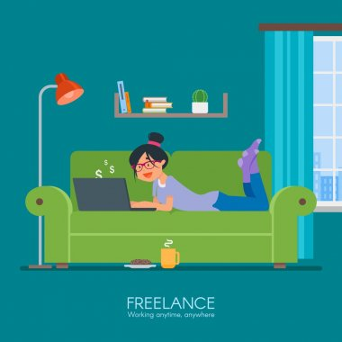 Female freelancer working remotely from her room. Freelance concept vector illustration in flat style design. Online shopping.