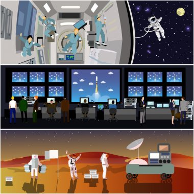 Space mission control center. Rocket launch vector illustration. Astronauts in space station and outer space.