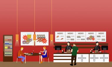 Fast food restaurant interior vector illustration. Horizontal banner in flat style design. Eatery menu