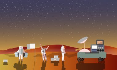 Astronauts on Mars concept vector illustration. Landing to red planet. Space scientists and rover.