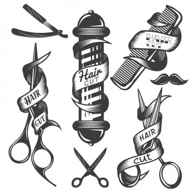 Vector set of hair salon vector labels in vintage style. Hair cut beauty and barber shop, scissors, blade.