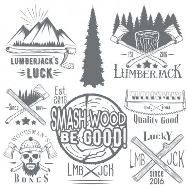 Vector set of lumberjack and woodsman vector labels in vintage style. Wood work, manufacture emblems templates.