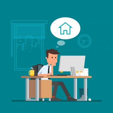 Business man working and dreaming about home. Vector illustration, flat cartoon style. Office worker in stress