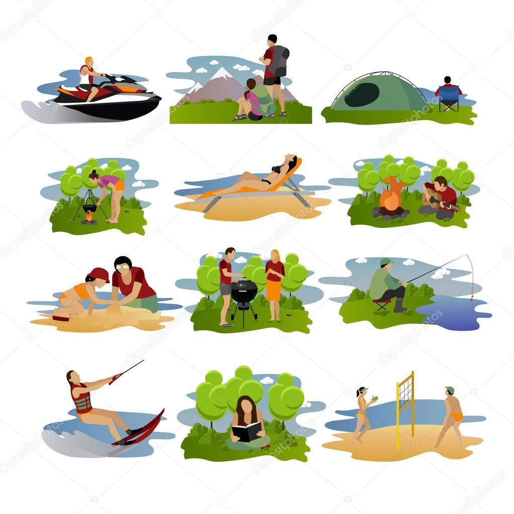 Vector set of summer recreation concept design elements. Cartoon labels. Beach sport, fishing, active rest and camping flat icons