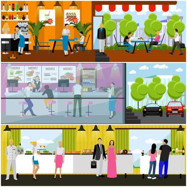 Vector set of banners with restaurant interiors. Smorgasbord party. Fast food restaurant, street cafe in flat style