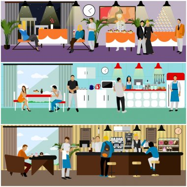 Vector set of banners with restaurant interiors. People having lunch in cafe.