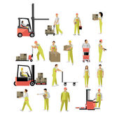 Photo Delivery people silhouettes. Logistic and transportation icons isolated on white background. Vector illustration in flat style design.