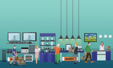 People shopping in a mall. Consumer electronics store Interior vector illustration. Design elements and banners flat style