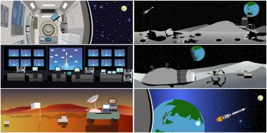 Mission control center. Rocket launch vector illustration. Station and outer space.
