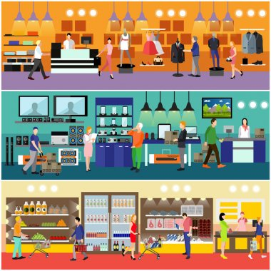 People shopping in a mall concept. Consumer electronics store Interior. Colorful vector illustration.