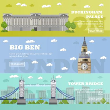 London tourist landmark banners. Vector illustration with  famous buildings. Tower bridge, Big Ben and Buckingham Palace