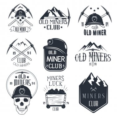 Vector set of mining labels in vintage style. Gold miners club