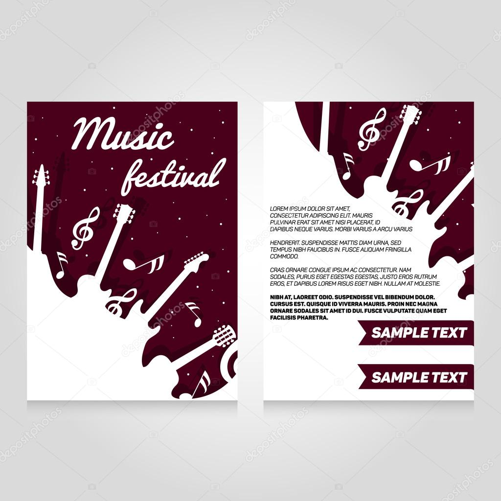 Music Festival Brochure Flier Design Template Vector Concert Poster Illustration Leaflet Cover Layout In A4 Size By Skypistudio