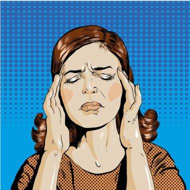 Woman in stress has headache. Vector illustration pop art retro comic style.