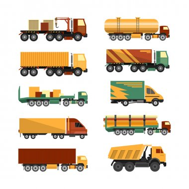 Vector set of trucks icons isolated on white background. Delivery and shipping cargo vehicles.
