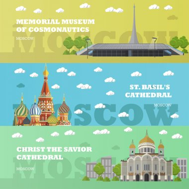 Moscow tourist landmark banners. Vector illustration with Russian famous buildings. Travel to Russia concept.