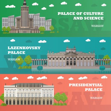 Warsaw tourist landmark banners. Vector illustration with Poland famous buildings. Travel concept.