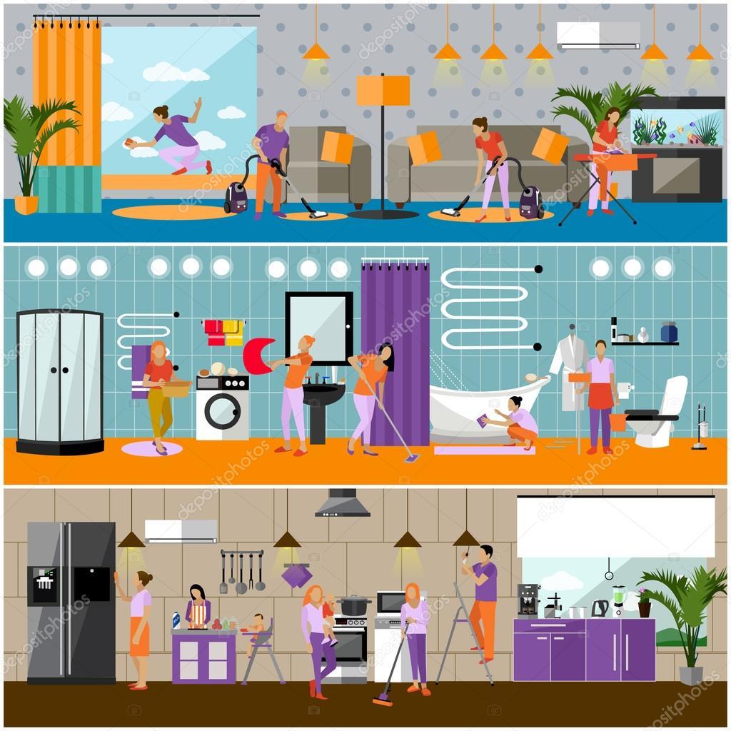 Vecteur série de bannières de notion de service de nettoyage gens de nettoyage maison cuisine salle de bain et salon intérieur de lappartement