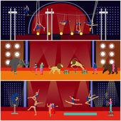 Vektorové sada bannerů interiéru cirkus. Akrobaty a umělci provést show v aréně.