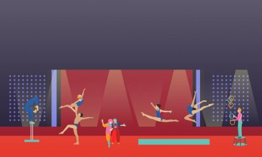 Circus interior concept vector banner. Acrobats and artists perform show in arena.