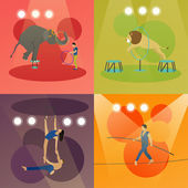 Vector set of circus concept banners. Acrobats and artists perform show in arena.