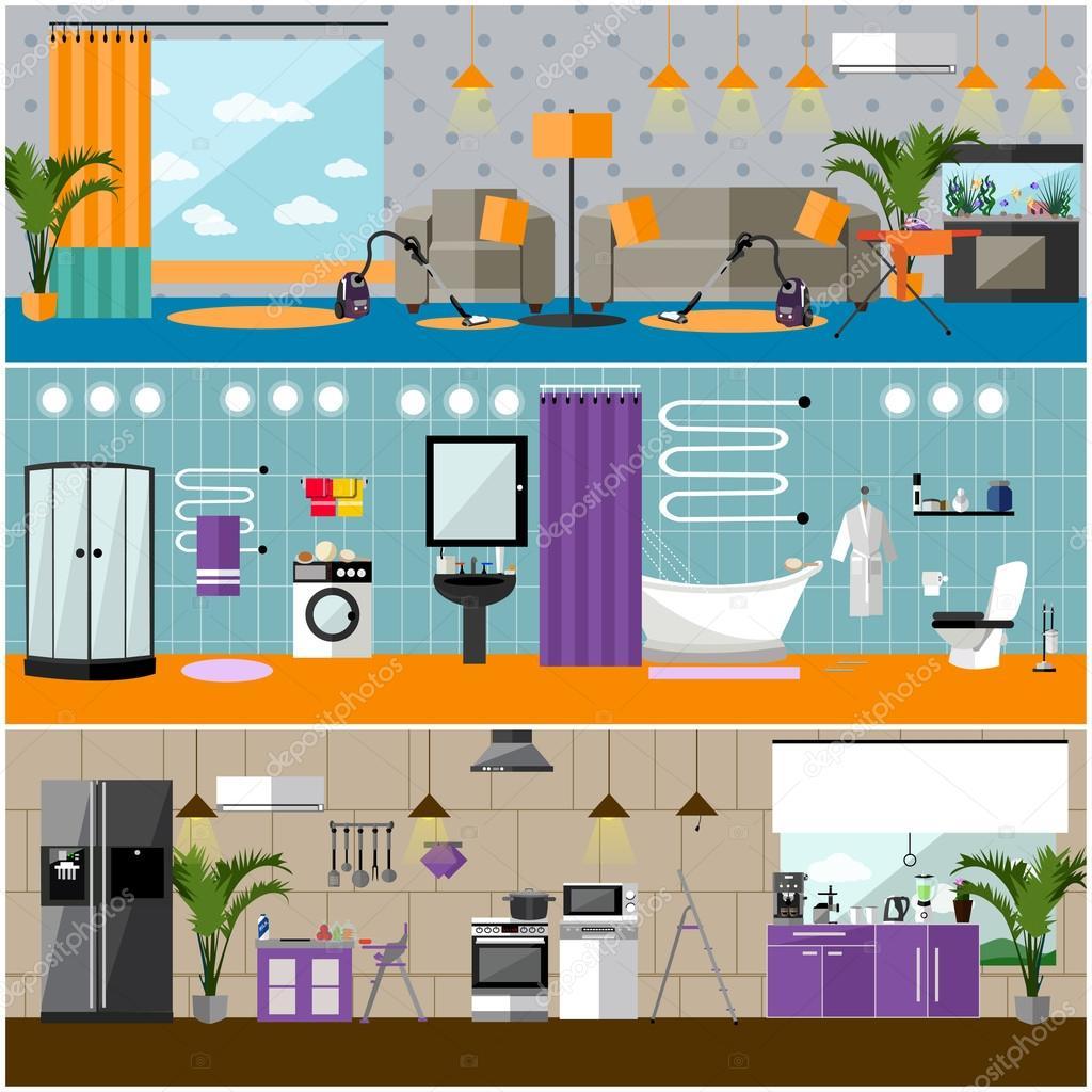 Vector Set Haus Innen Banner. Wohnung Einrichtung Mit Möbel, Wohnzimmer,  Bad, Küche U2014 Vektor Von Skypistudio