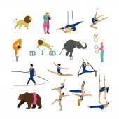 Vektorové sada cirkusových umělců, akrobaty a zvířata izolovaných na bílém pozadí. Ikony, prvky návrhu.