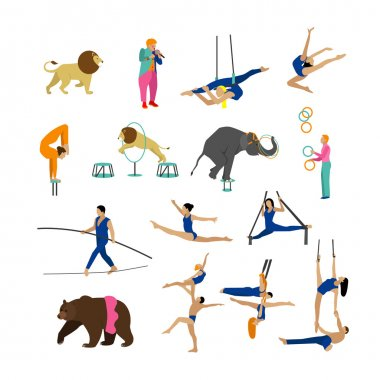 Vector set of circus artists, acrobats and animals isolated on white background. Icons, design elements.