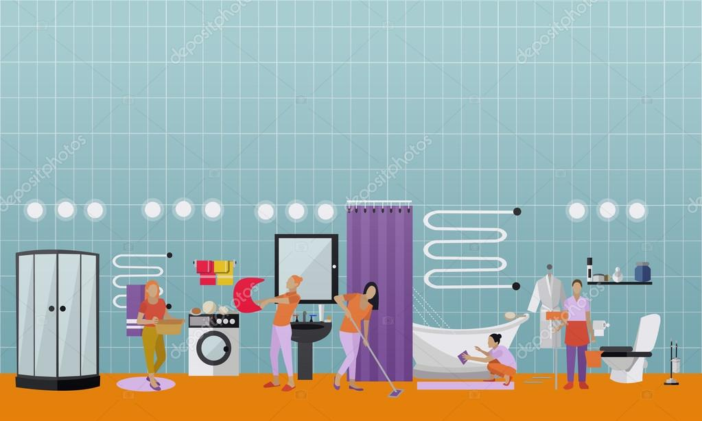 Cleaning Service Concept Vector Banner People Clean House Apartment Bathroom Interior