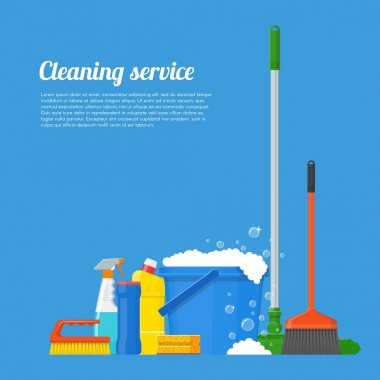 Cleaning service company concept vector illustration. House tools poster design in flat style