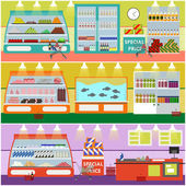 Fényképek Supermarket interior vector illustration in flat style. Product items in food store. Groceries and foodstuff on shelves