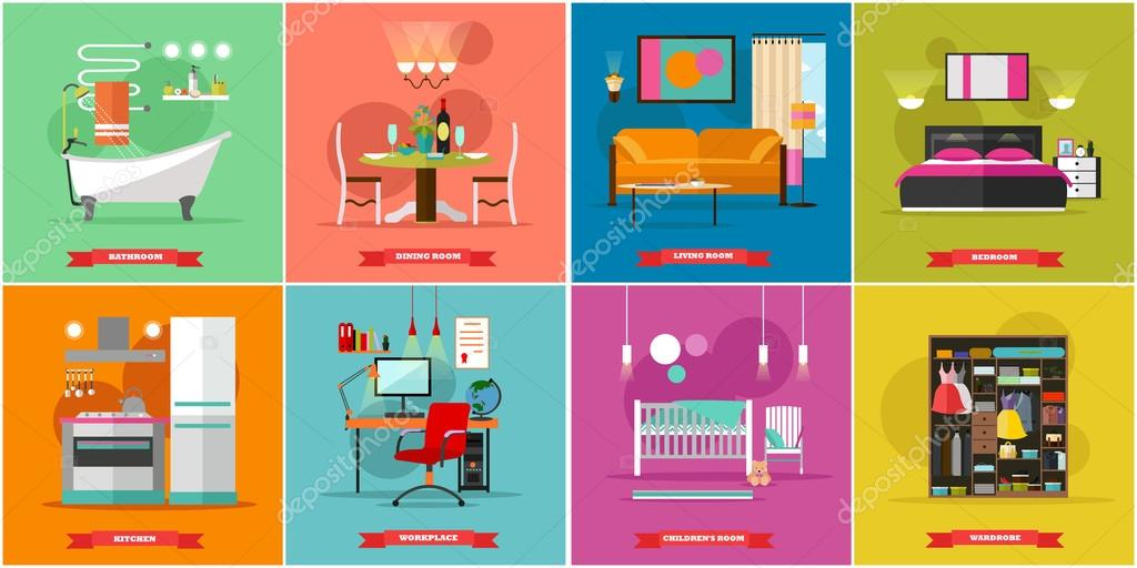 Home interior vector illustration in flat style. House design with ...