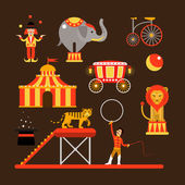 Fotografie Vector set of circus artists, acrobats and animals isolated on white background.