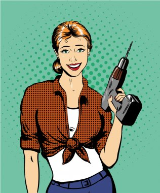 Woman with drill vector illustration in retro comic pop art style. Girl and hardware power tools